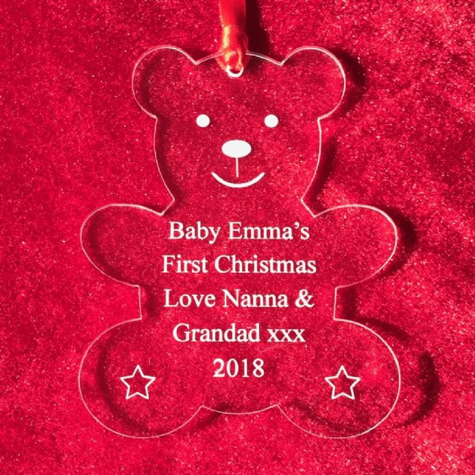 Personalised Clear Acrylic Teddy Bear Tree Decoration